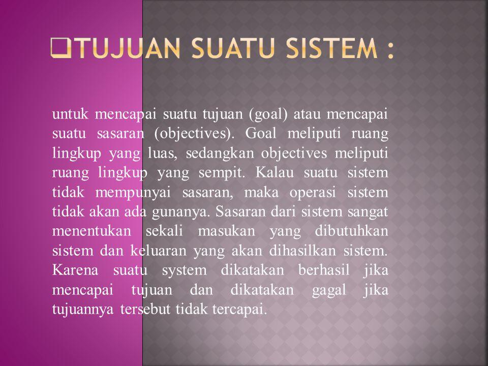 Tujuan suatu sistem :