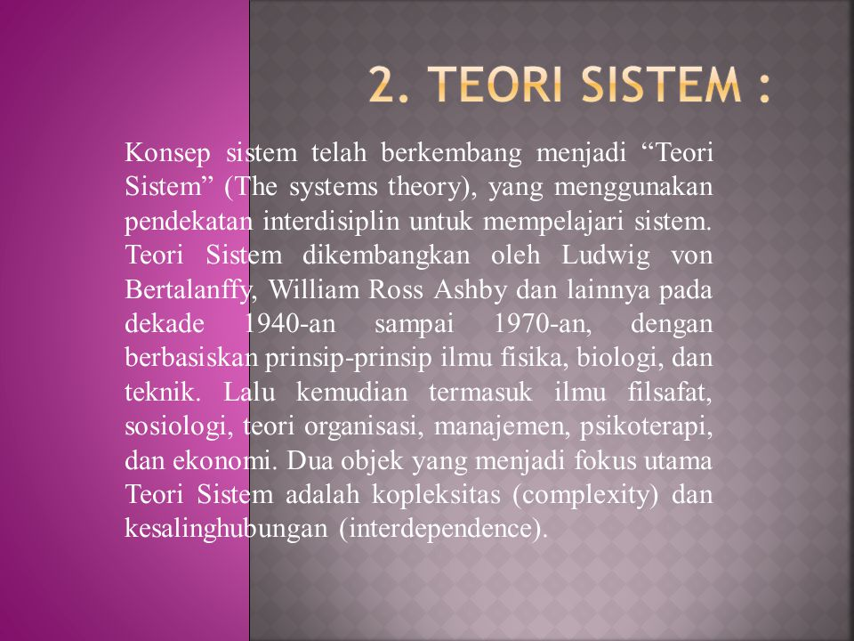 2. TEORI SISTEM :