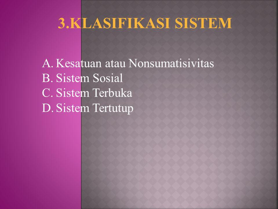 3.KLASIFIKASI SISTEM Kesatuan atau Nonsumatisivitas Sistem Sosial