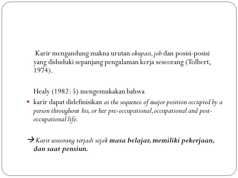 Karir mengandung makna urutan okupasi, job dan posisi-posisi yang diduduki sepanjang pengalaman kerja seseorang (Tolbert, 1974).
