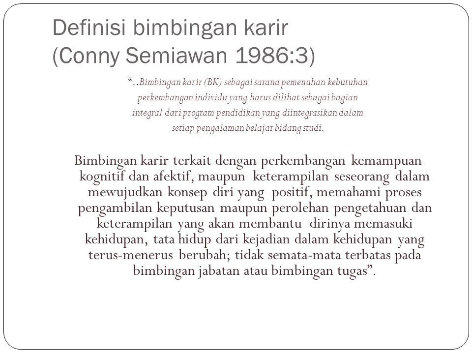 Definisi bimbingan karir (Conny Semiawan 1986:3)