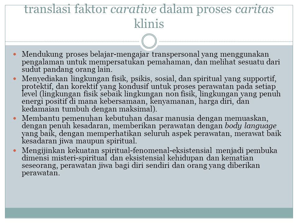 translasi faktor carative dalam proses caritas klinis