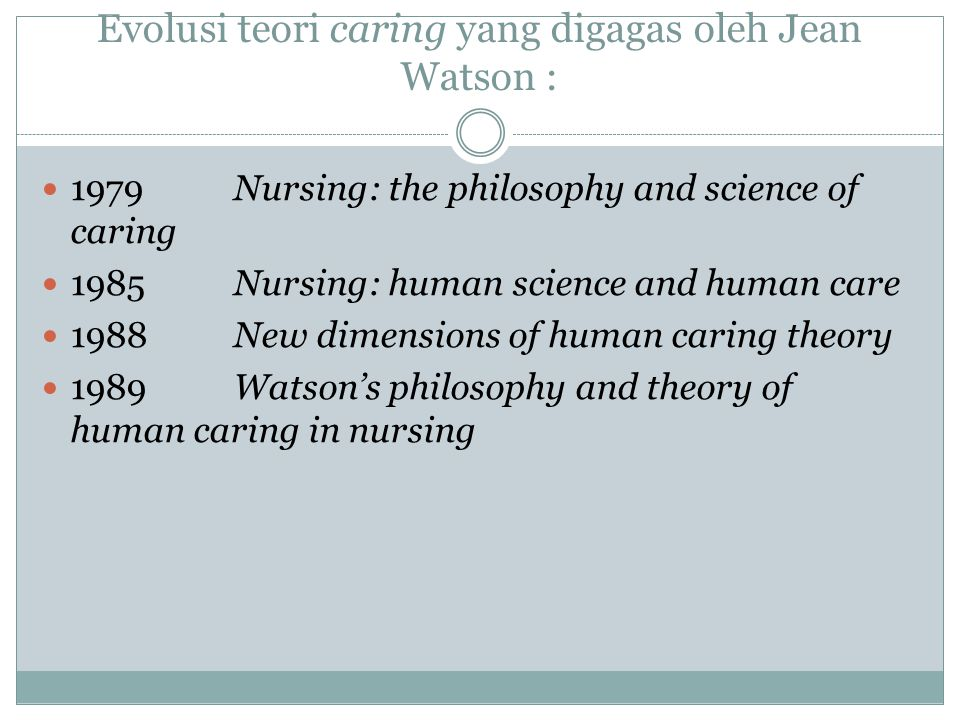 Evolusi teori caring yang digagas oleh Jean Watson :