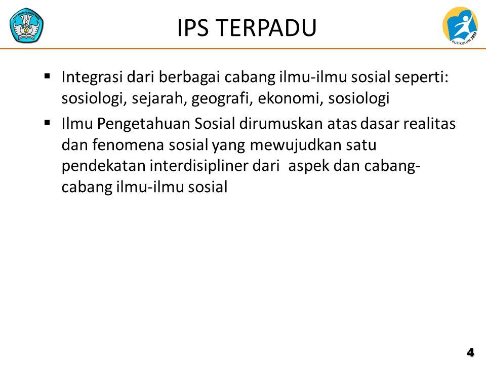 IPS TERPADU Integrasi dari berbagai cabang ilmu-ilmu sosial seperti: sosiologi, sejarah, geografi, ekonomi, sosiologi.