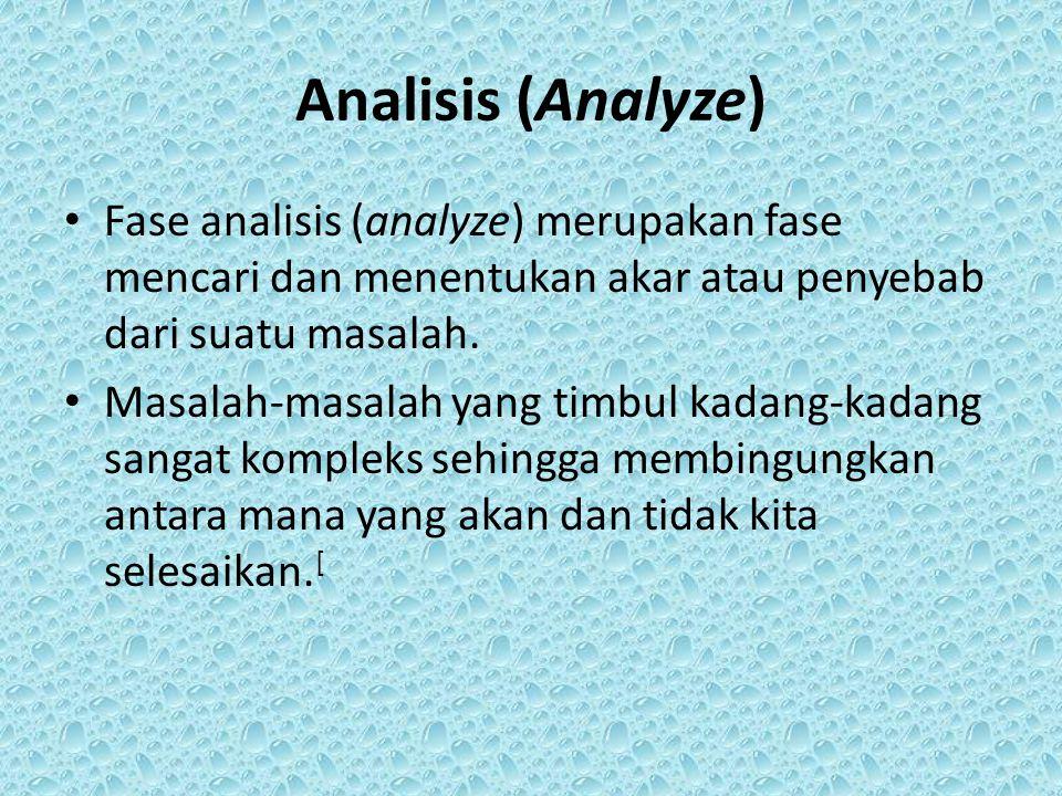 Analisis (Analyze) Fase analisis (analyze) merupakan fase mencari dan menentukan akar atau penyebab dari suatu masalah.