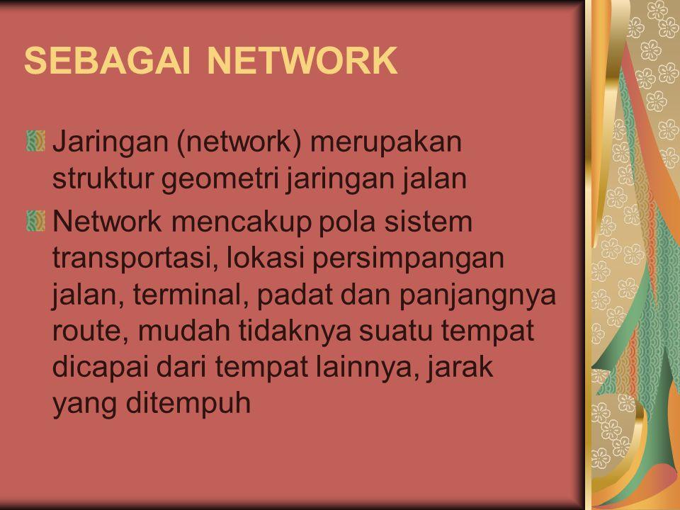 SEBAGAI NETWORK Jaringan (network) merupakan struktur geometri jaringan jalan.