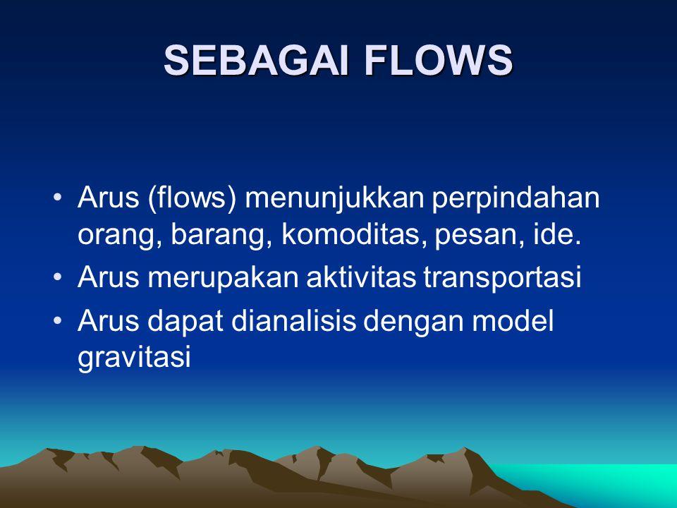 SEBAGAI FLOWS Arus (flows) menunjukkan perpindahan orang, barang, komoditas, pesan, ide. Arus merupakan aktivitas transportasi.