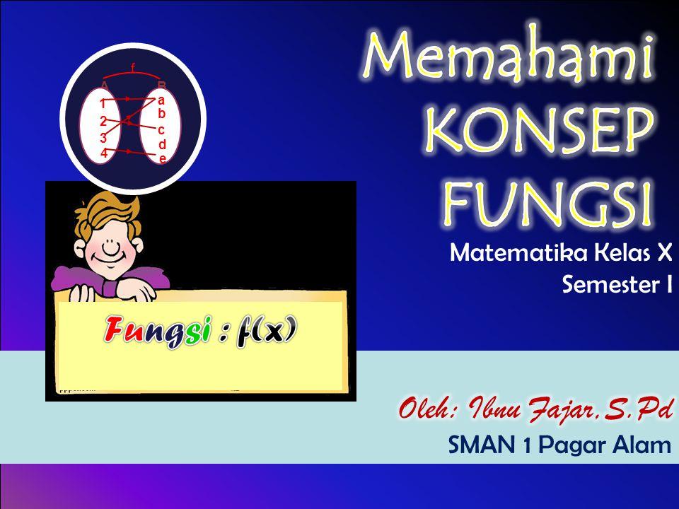 Memahami KONSEP FUNGSI Fungsi : f(x) Oleh: Ibnu Fajar,S.Pd