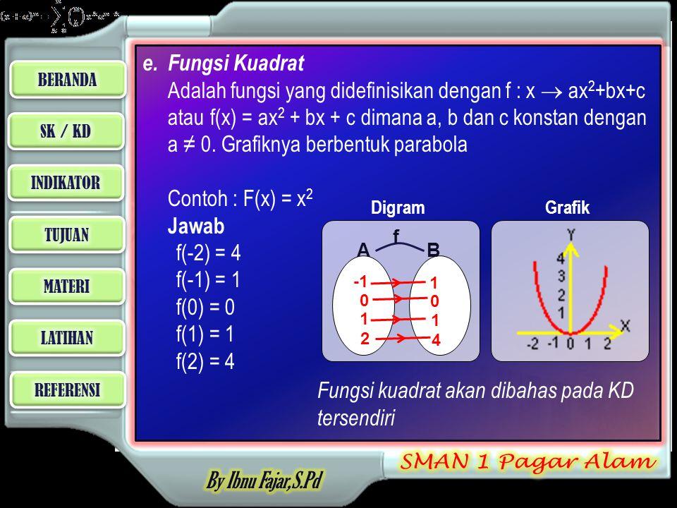 Fungsi kuadrat akan dibahas pada KD tersendiri