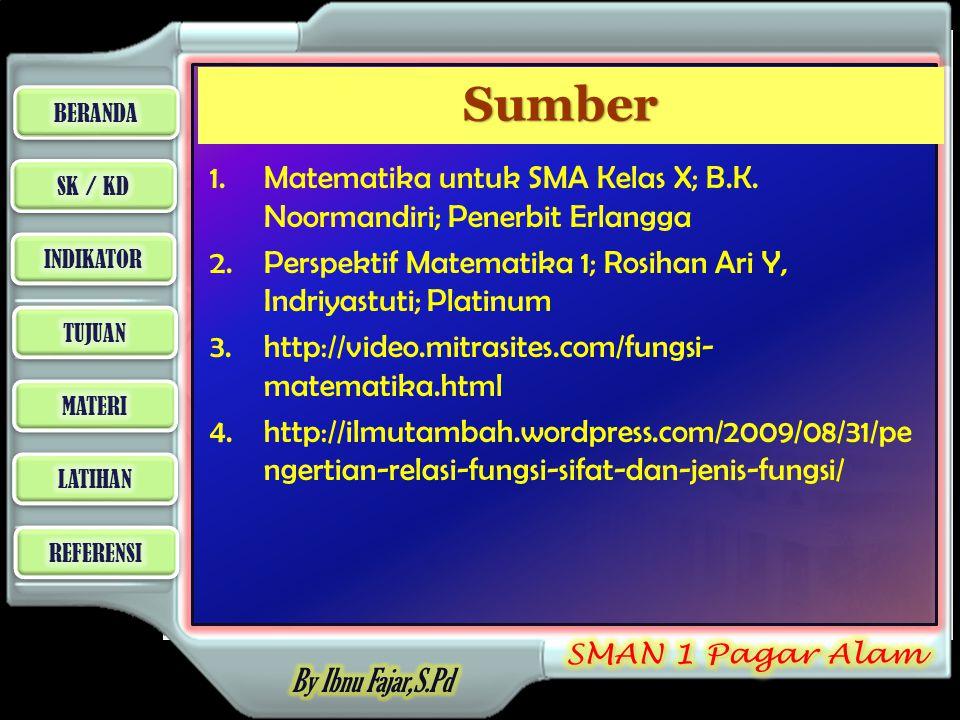 Sumber Matematika untuk SMA Kelas X; B.K. Noormandiri; Penerbit Erlangga. Perspektif Matematika 1; Rosihan Ari Y, Indriyastuti; Platinum.