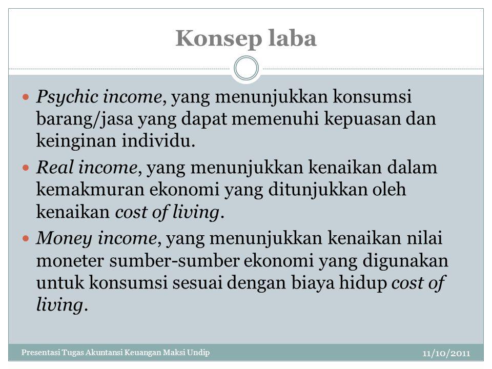 Konsep laba Psychic income, yang menunjukkan konsumsi barang/jasa yang dapat memenuhi kepuasan dan keinginan individu.