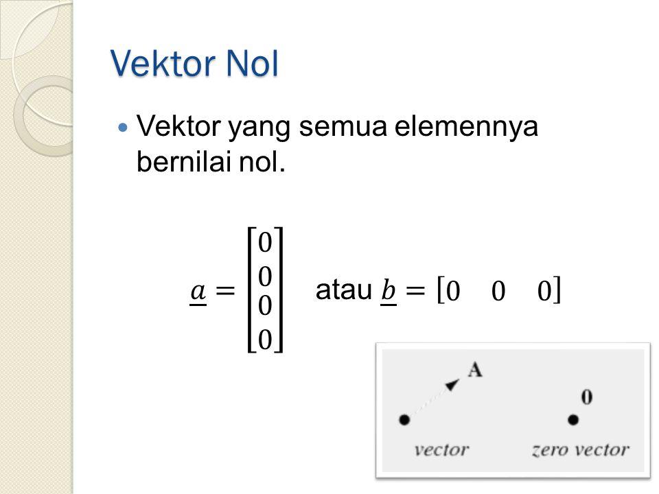 Vektor Nol Vektor yang semua elemennya bernilai nol.