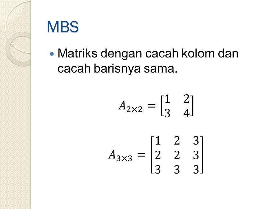 MBS Matriks dengan cacah kolom dan cacah barisnya sama.