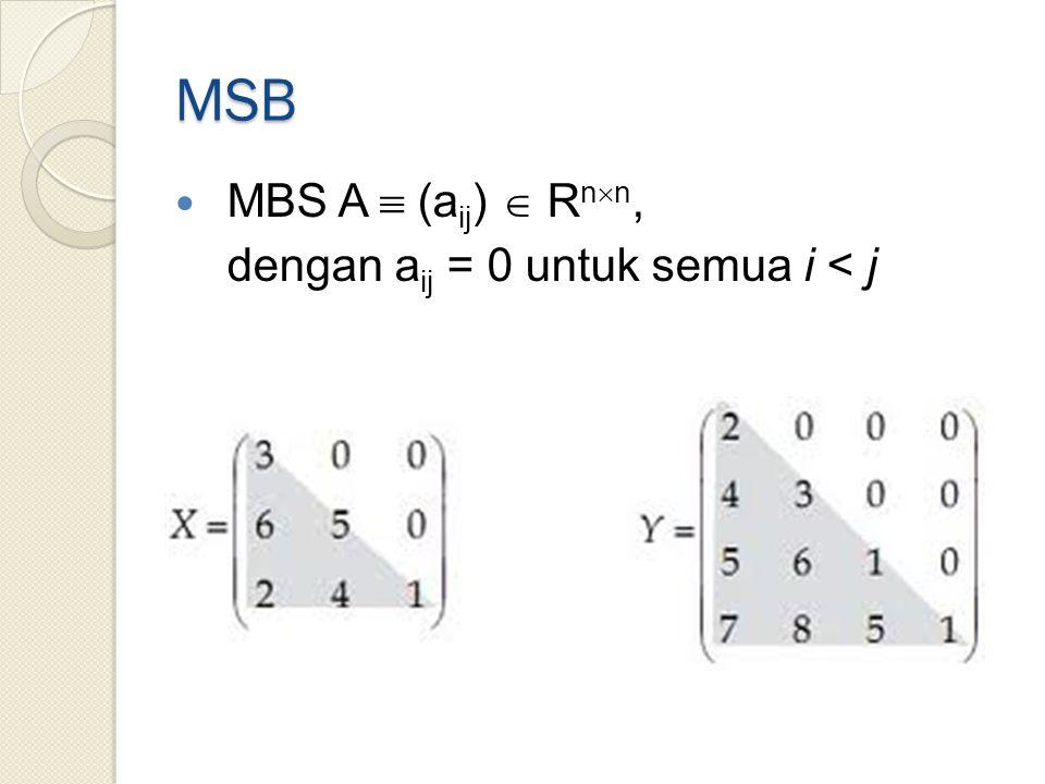 MSB MBS A  (aij)  Rnn, dengan aij = 0 untuk semua i < j
