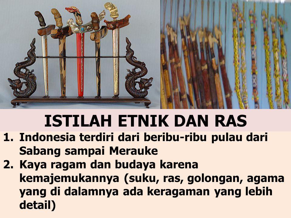 ISTILAH ETNIK DAN RAS Indonesia terdiri dari beribu-ribu pulau dari Sabang sampai Merauke.