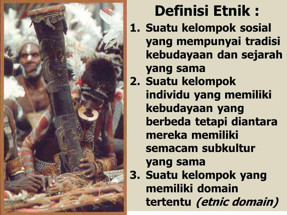 Definisi Etnik : Suatu kelompok sosial yang mempunyai tradisi kebudayaan dan sejarah yang sama.