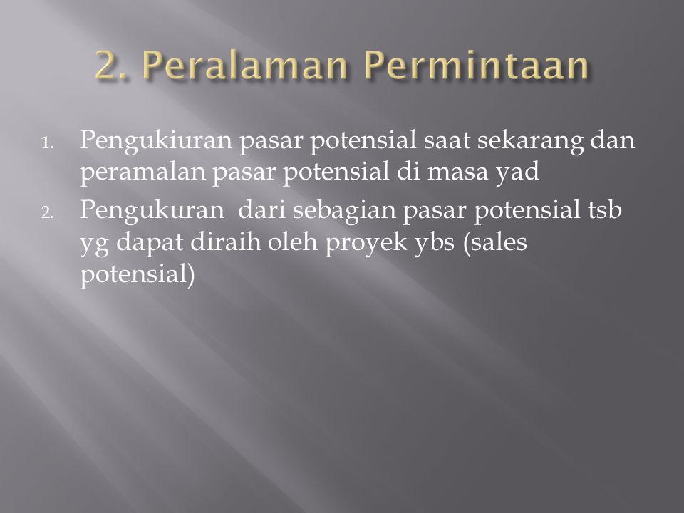 2. Peralaman Permintaan Pengukiuran pasar potensial saat sekarang dan peramalan pasar potensial di masa yad.