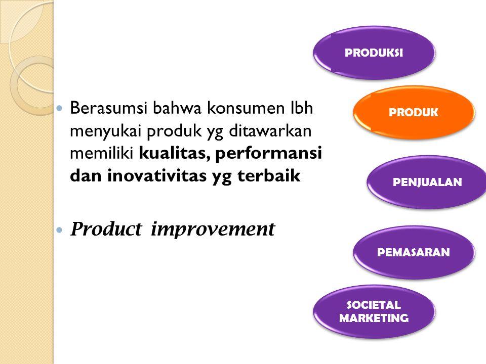 PRODUKSI PRODUK. Berasumsi bahwa konsumen lbh menyukai produk yg ditawarkan memiliki kualitas, performansi dan inovativitas yg terbaik.