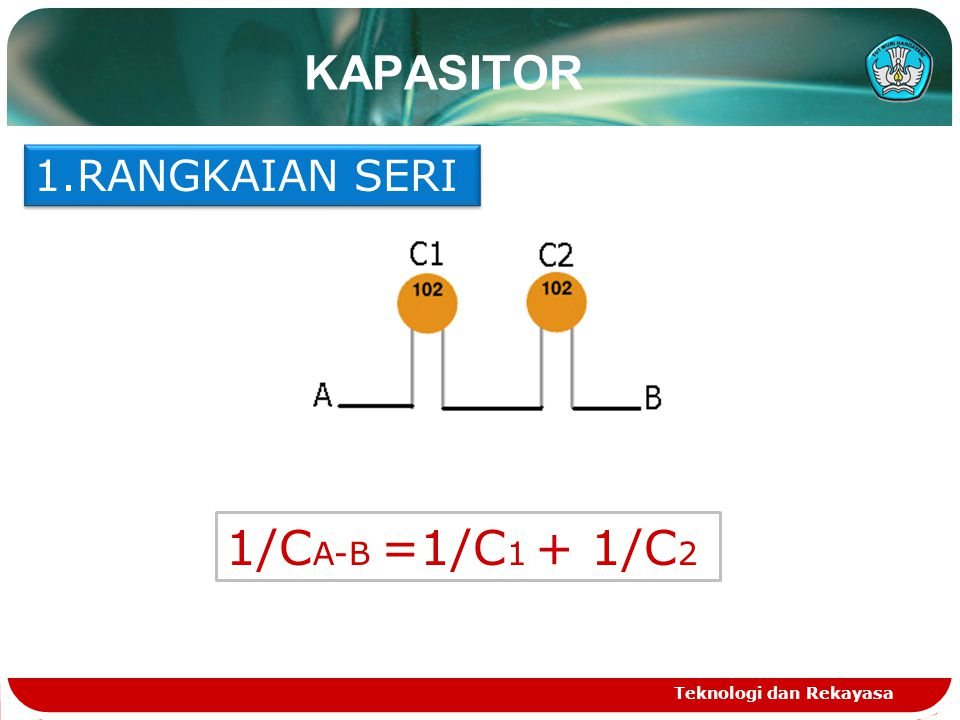 KAPASITOR RANGKAIAN SERI 1/CA-B =1/C1 + 1/C2 Teknologi dan Rekayasa