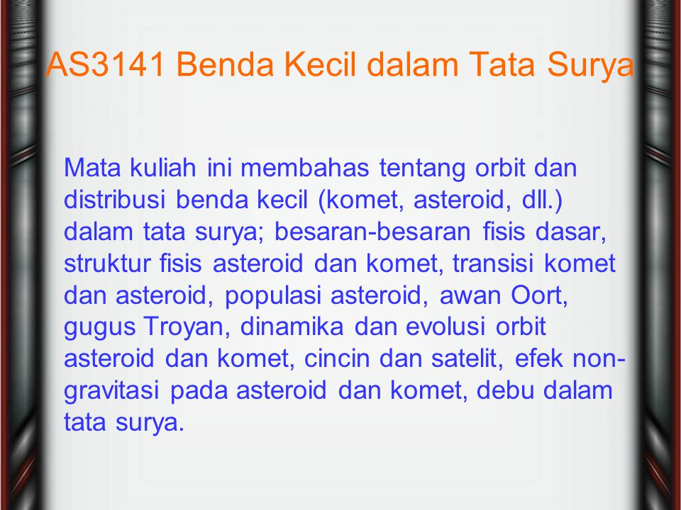 AS3141 Benda Kecil dalam Tata Surya