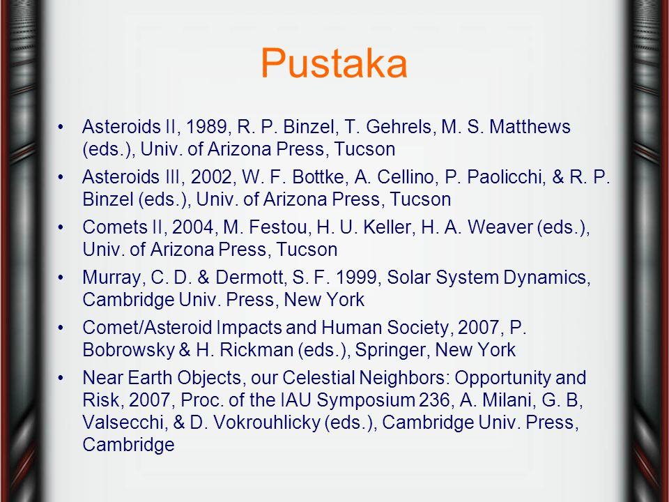 Pustaka Asteroids II, 1989, R. P. Binzel, T. Gehrels, M. S. Matthews (eds.), Univ. of Arizona Press, Tucson.