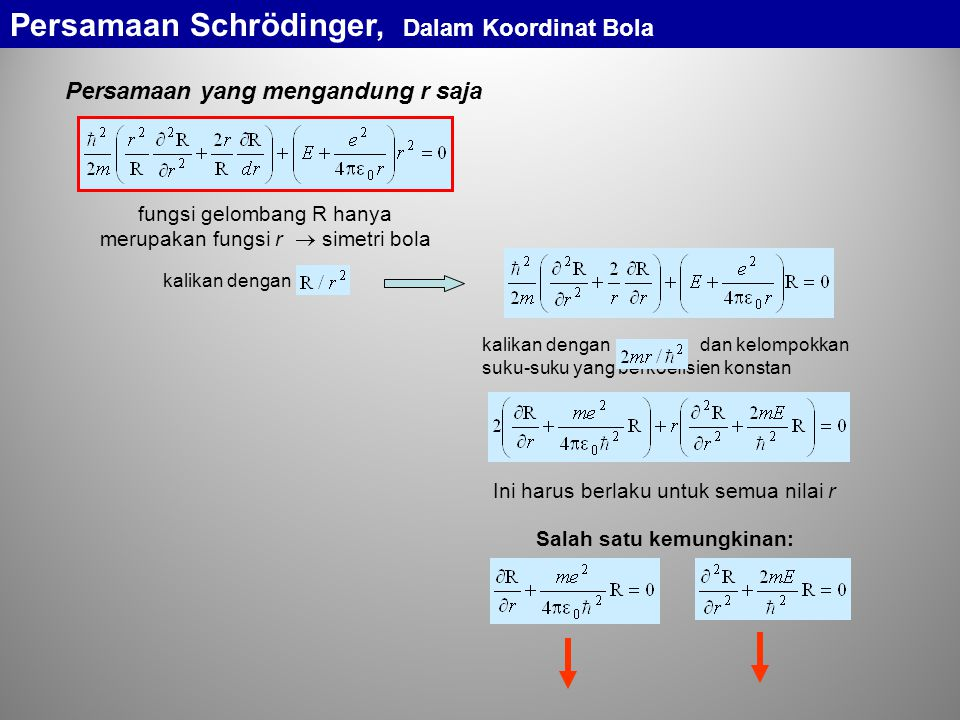 Persamaan Schrödinger, Dalam Koordinat Bola