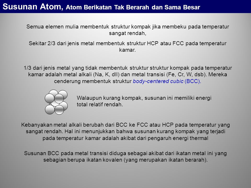 Susunan Atom, Atom Berikatan Tak Berarah dan Sama Besar