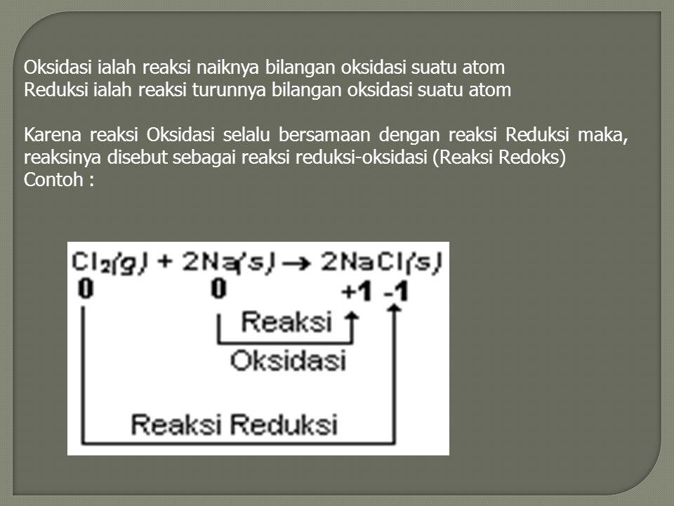 Oksidasi ialah reaksi naiknya bilangan oksidasi suatu atom