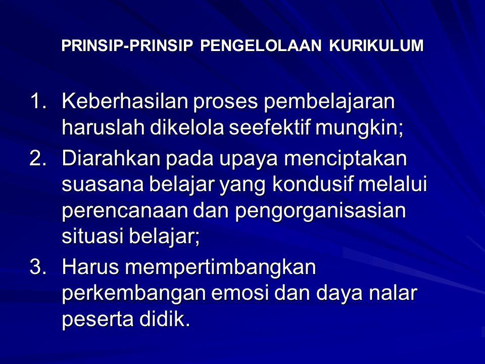 PRINSIP-PRINSIP PENGELOLAAN KURIKULUM