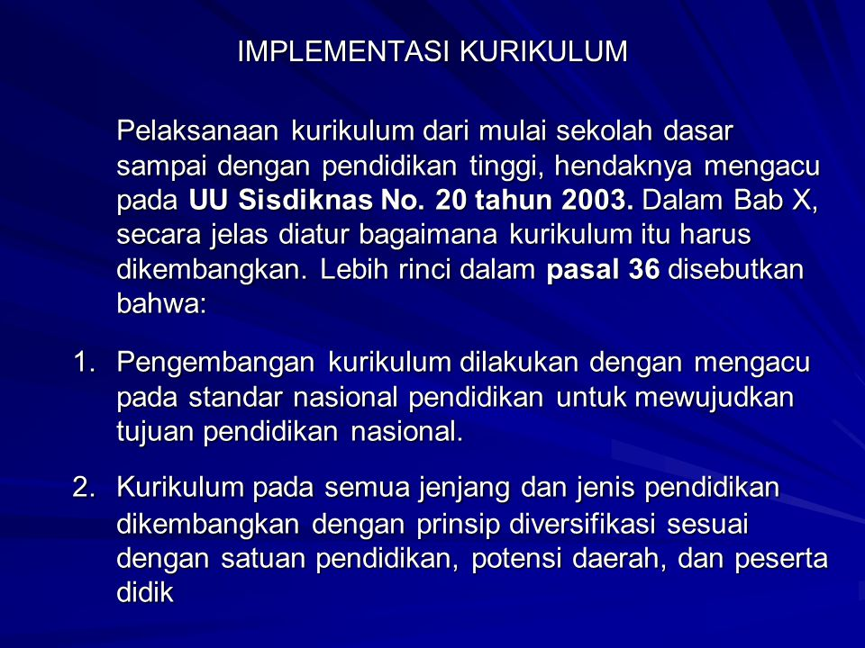 IMPLEMENTASI KURIKULUM