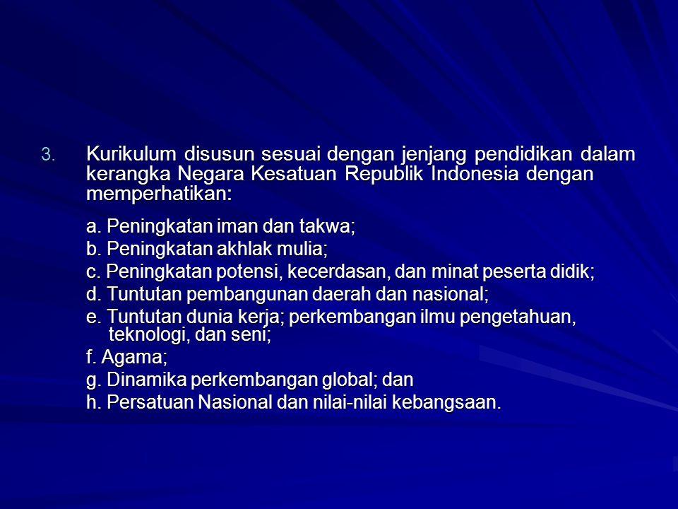 Kurikulum disusun sesuai dengan jenjang pendidikan dalam kerangka Negara Kesatuan Republik Indonesia dengan memperhatikan: