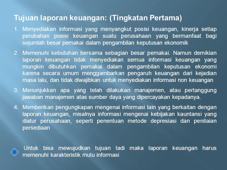 Tujuan laporan keuangan: (Tingkatan Pertama)