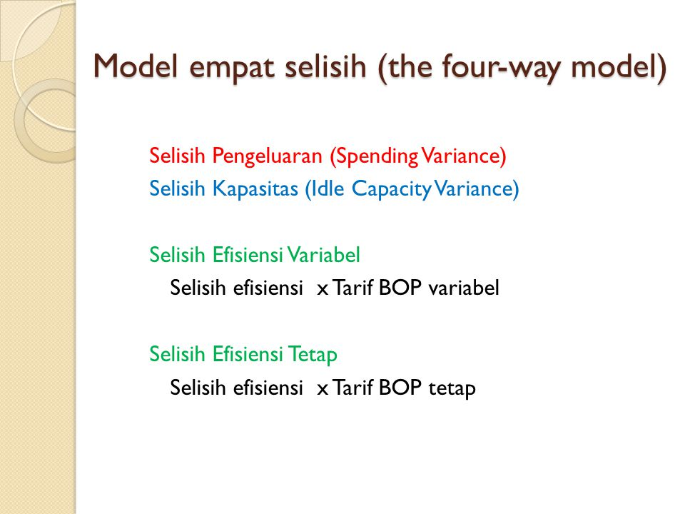 Model empat selisih (the four-way model)