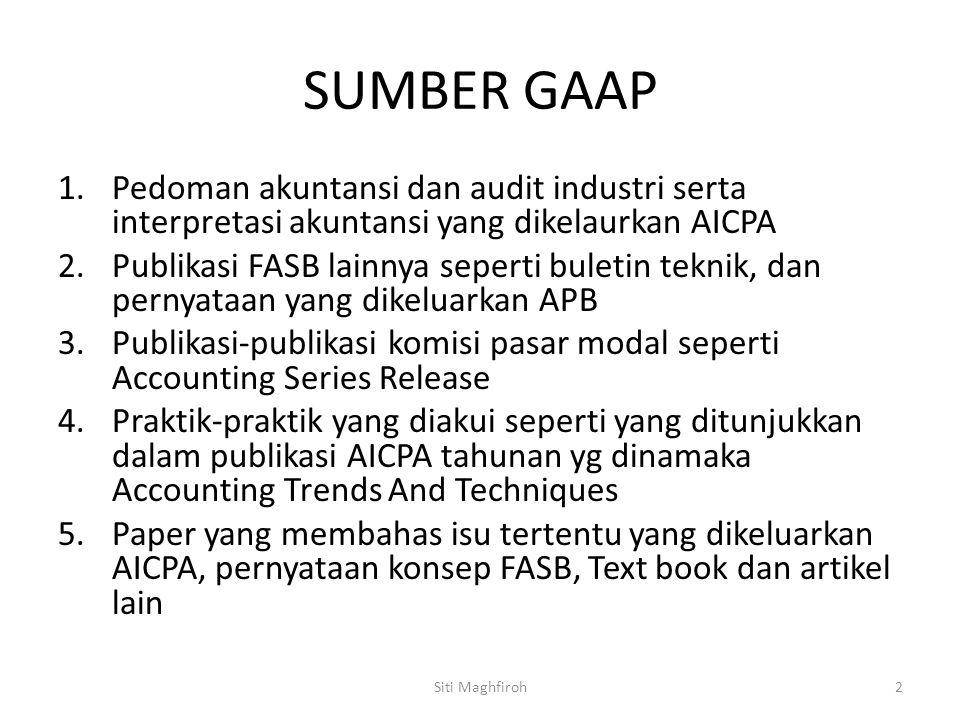 SUMBER GAAP Pedoman akuntansi dan audit industri serta interpretasi akuntansi yang dikelaurkan AICPA.