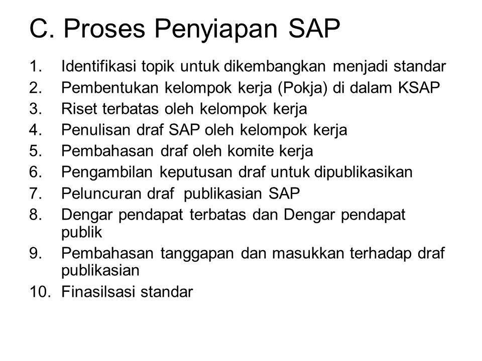 C. Proses Penyiapan SAP Identifikasi topik untuk dikembangkan menjadi standar. Pembentukan kelompok kerja (Pokja) di dalam KSAP.