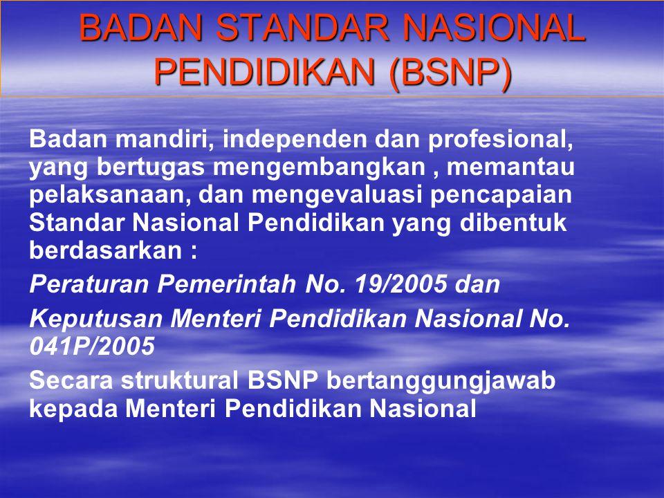 BADAN STANDAR NASIONAL PENDIDIKAN (BSNP)