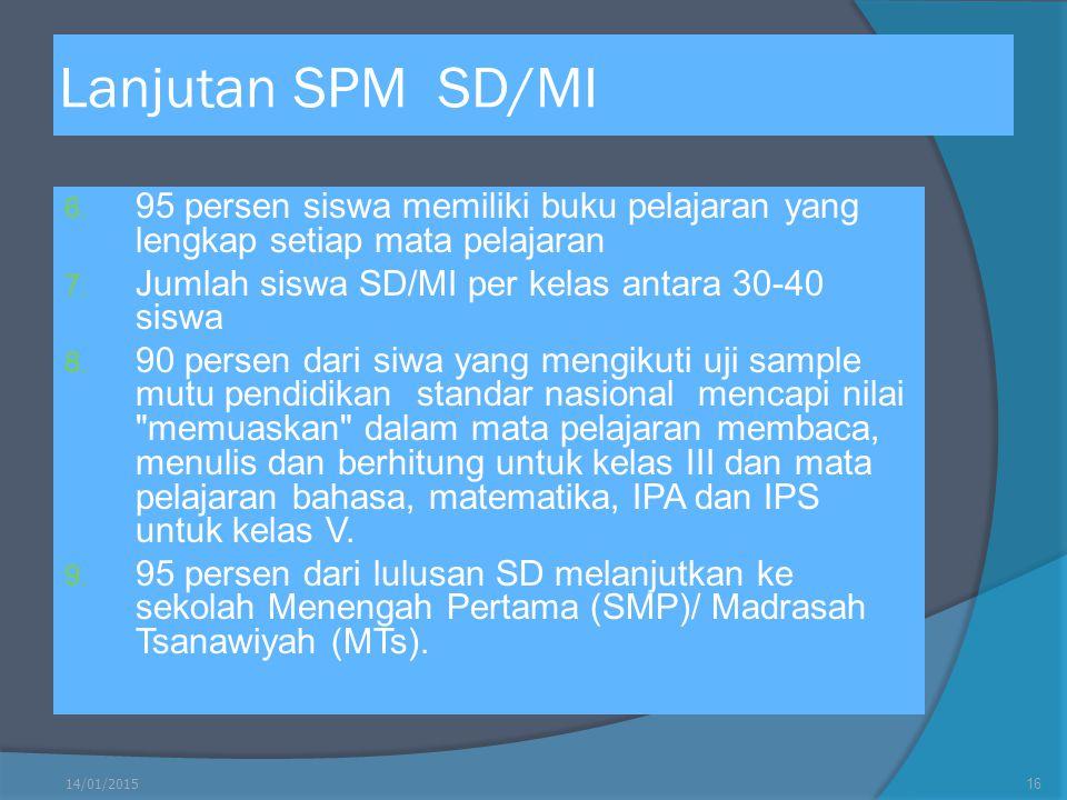Lanjutan SPM SD/MI 95 persen siswa memiliki buku pelajaran yang lengkap setiap mata pelajaran. Jumlah siswa SD/MI per kelas antara 30-40 siswa.