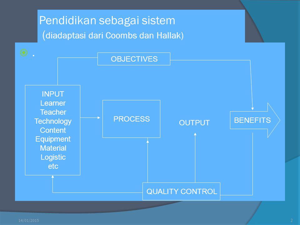 Pendidikan sebagai sistem (diadaptasi dari Coombs dan Hallak)