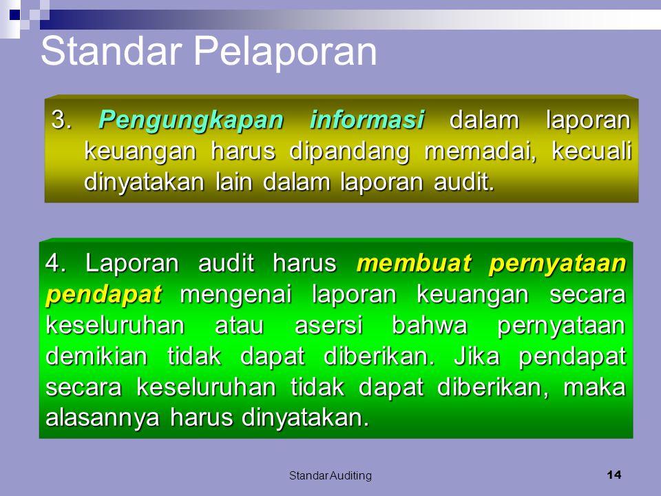 Standar Pelaporan 3. Pengungkapan informasi dalam laporan keuangan harus dipandang memadai, kecuali dinyatakan lain dalam laporan audit.