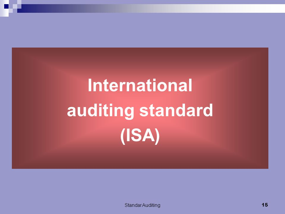 International auditing standard (ISA)
