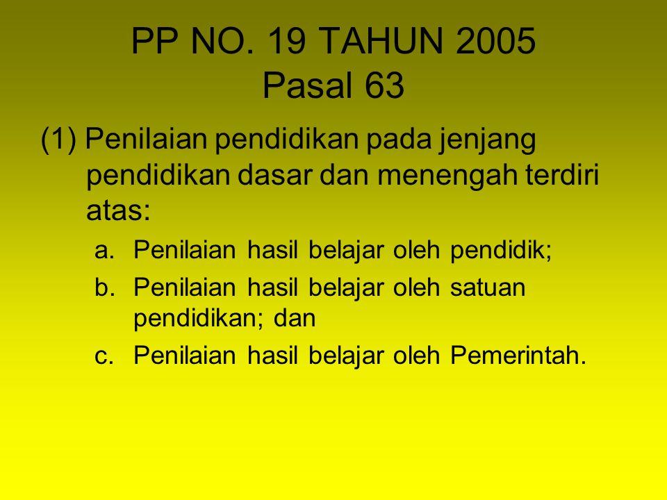 PP NO. 19 TAHUN 2005 Pasal 63 (1) Penilaian pendidikan pada jenjang pendidikan dasar dan menengah terdiri atas: