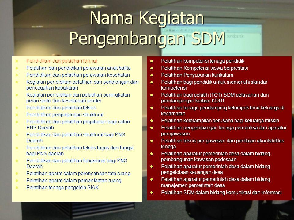 Nama Kegiatan Pengembangan SDM