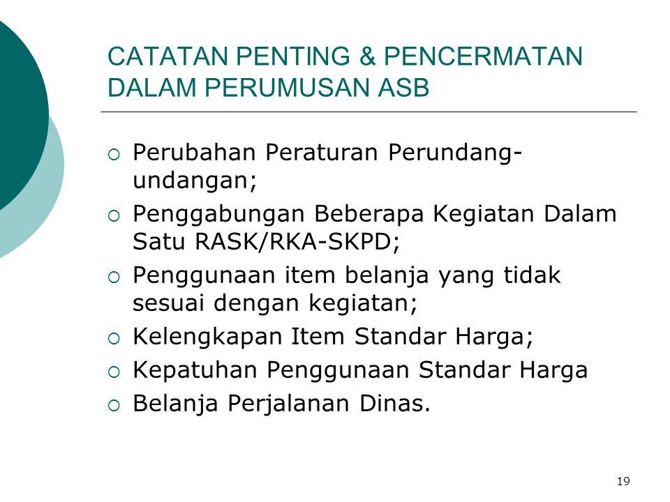 CATATAN PENTING & PENCERMATAN DALAM PERUMUSAN ASB