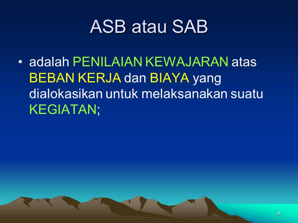 ASB atau SAB adalah PENILAIAN KEWAJARAN atas BEBAN KERJA dan BIAYA yang dialokasikan untuk melaksanakan suatu KEGIATAN;