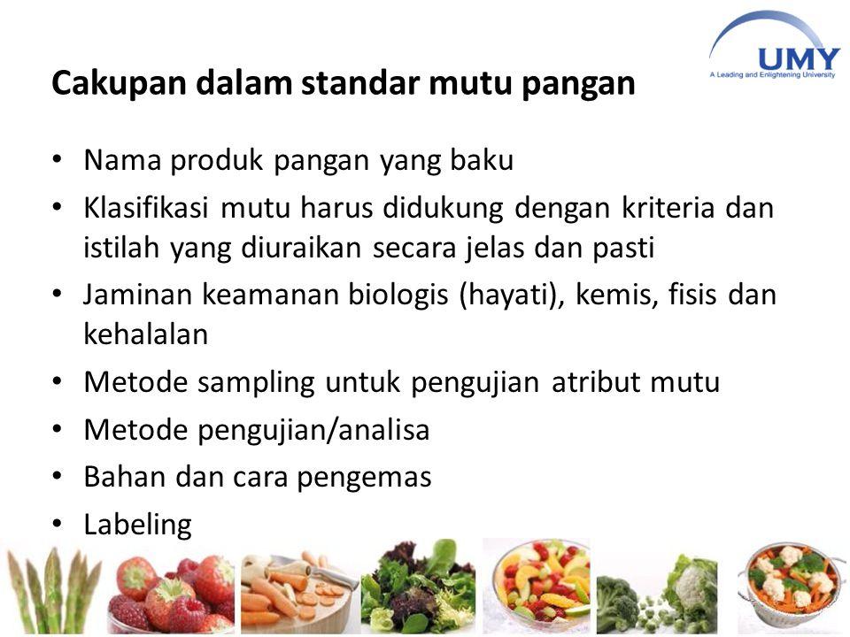 Cakupan dalam standar mutu pangan