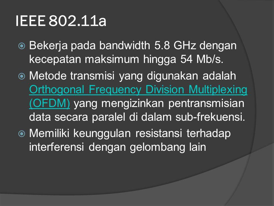 IEEE 802.11a Bekerja pada bandwidth 5.8 GHz dengan kecepatan maksimum hingga 54 Mb/s.