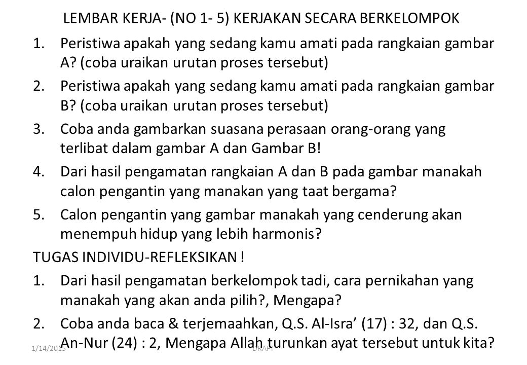 LEMBAR KERJA- (NO 1- 5) KERJAKAN SECARA BERKELOMPOK