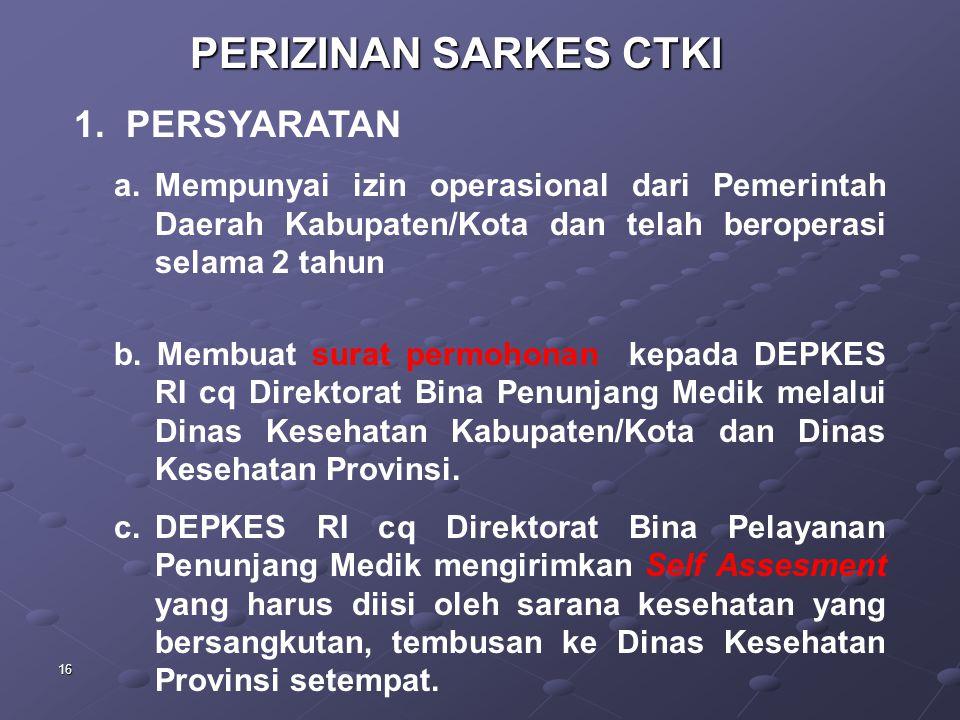 PERIZINAN SARKES CTKI 1. PERSYARATAN