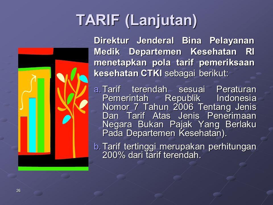 TARIF (Lanjutan) Direktur Jenderal Bina Pelayanan Medik Departemen Kesehatan RI menetapkan pola tarif pemeriksaan kesehatan CTKI sebagai berikut:
