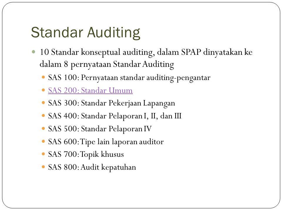 Standar Auditing 10 Standar konseptual auditing, dalam SPAP dinyatakan ke dalam 8 pernyataan Standar Auditing.